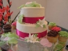 tropical themed wedding cake display